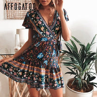 Affogatoo Bohemian floral women mini dress V neck wrap sash print ruffle dresse femme Summer elegant holiday beach sundress 2019