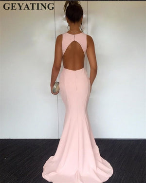 Simple Pink Mermaid Long Satin Prom Dresses 2019 Cheap V-Neck Open Back Evening Party Gowns Elegant Women Special Formal Dress