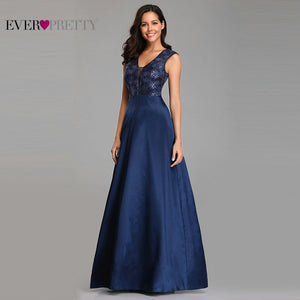 Prom Dresses Long 2019 Ever Pretty EZ07731NB New Navy Blue A-line Lace