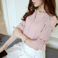 2019 summer pink chiffon women shirt blouse fashion short sleeve v-neck women's clothing shirt lace women's tops blusas D678 30