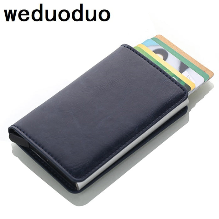 Weduoduo 2019 Men And Women Credit Card Holder RFID Aluminium Business Card Holder Crazy Horse PU Leather Travel Card Wallet