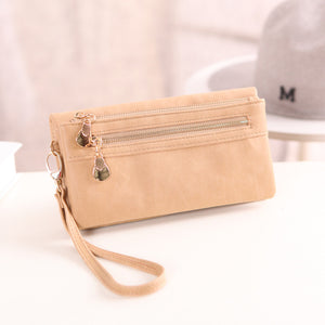 High Capacity Fashion Women Wallets Polish PU Leather Wallet Female Double Zipper Clutch Coin Purse Ladies Phone Bag Wristlet