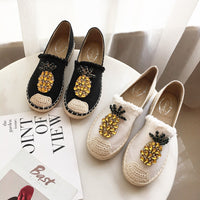 2019 New Women Espadrilles Flats Crystal Pineapple Hemp Fisherman