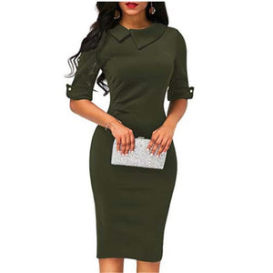 Elegant Womens BOHO Office Turn down Collar Formal Dress Ladies Business Work