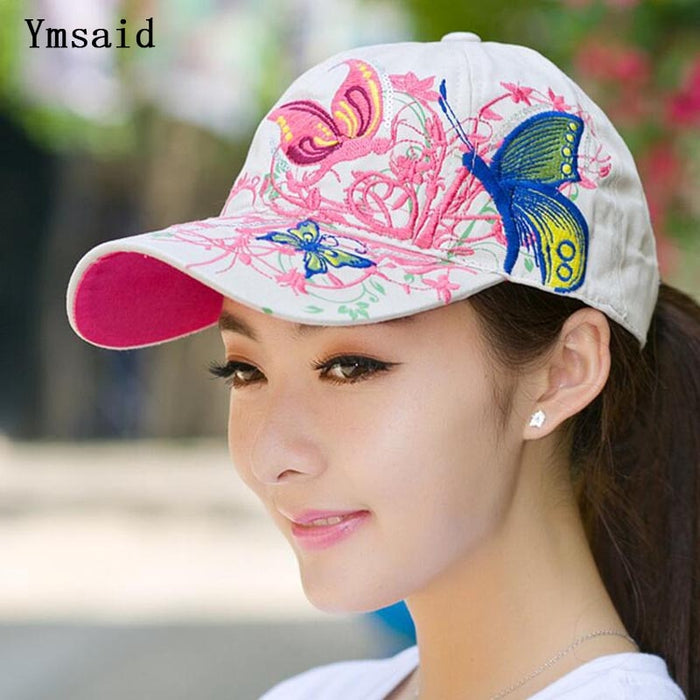 Ymsaid 2019 Summer Adjustable Snapbacks Baseball Caps Women Lady Flowers Butterfly Embroidered Hat