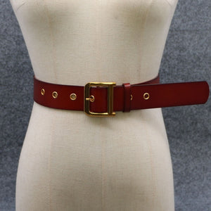 100% Genuine Leather Belts Luxury Designer Metal D Buckle belt women girls retro vintage large belt for jeans black white red
