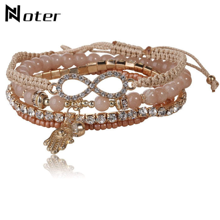 Bohemia 4pcs/set Bracelet sets For Women Girls Charm Fatima Hand Braslet