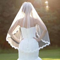 Bride White Wedding Veil One-tier Fingertip Veils Lace Applique Edge