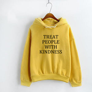 Harry Style Treat People With Kindness Hoodies Women Casual Pullover Fleece Unisex Jumpers Hooded Yellow Women'S Sweatshirt