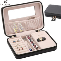 18*5*13cm Portable Travel Small Jewelry Box Storage Necklace Earring Organizer Box with mirror Inside Velvet Leather Jewelry Box