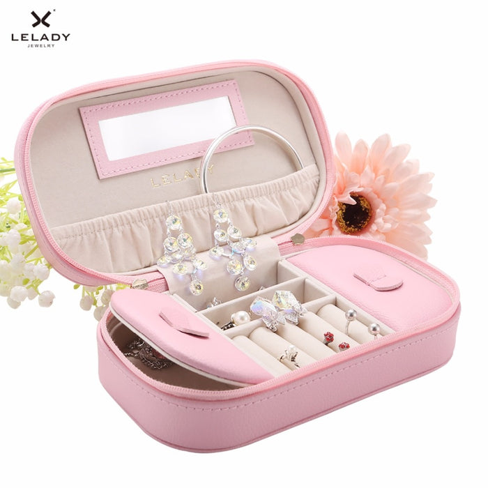 Small Jewelry Box Portable Travel Jewelry Organizer Case Leather Storage Jewelry Box with Mirror Oval PU Jewelry Box 17*5*10cm