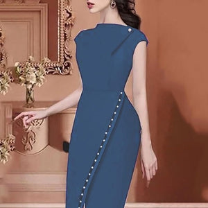 2019 Women Elegant Casual Office Look Workwear Slit Prom Party Dress Solid Button