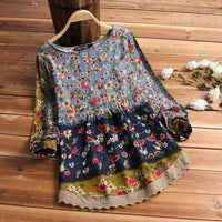 2019 ZANZEA Women Vintage Floral Printed Blouse Spring Long Sleeve Lace Patchwork Shirt Casual Cotton Linen Top Tunic  Blusa