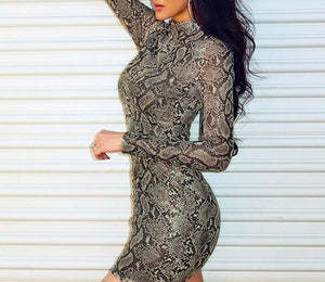 Fashion Women Snake Print Sexy Long Sleeve Turtleneck Grain Hip Party Cocktail Bodycon Mini Dress