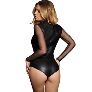 Black Mesh Sheer Long Sleeve PU Faux Leather Bodysuit Women High Neck Sexy