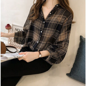 plus size blouse shirt fashion women tops and blouses 2019 long sleeve female shirt striped plaid OL women blusas 4XL 1201 40