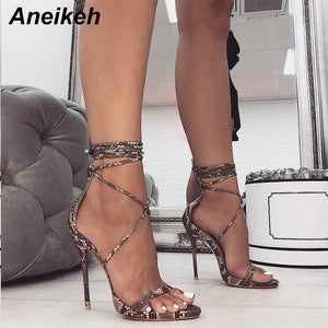 Aneikeh Fashion 2019 Summer Women's Sandals PU Lace-Up Thin High Heels Cover