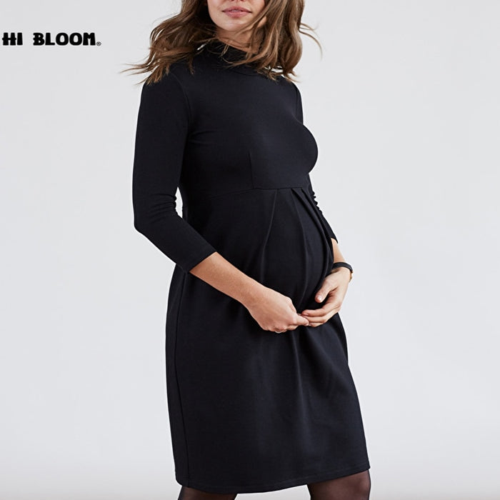 Spring Autumn Turtleneck Maternity Dresses for Pregnancy Women Casual