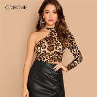 COLROVIE One Shoulder Leopard Print Cut Out Sexy T-Shirt Women Clothes Autumn