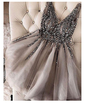 New Fashion Sexy Short Prom Dress V neck Sparkle Crystal  Evening Dresses