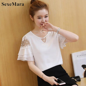 2019 Summer Butterfly sleeve Women blouse shirt Plus size Clothing Patchwork Crochet Lace Tops Fashoin Ruffles Chiffon blouse