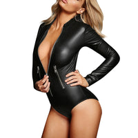 Sexy Top Long Sleeve Zipper Wetlook Leather Bodysuit Women Fetish PVC
