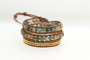 Women Bohemian Bracelets Vintage Leather Wrap Bracelet 3 Multi-layer