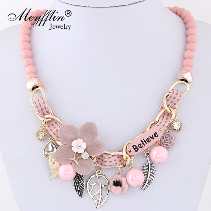 Meyfflin Flower Statement Necklaces 2019 Vintage Resin Beads Candy Color