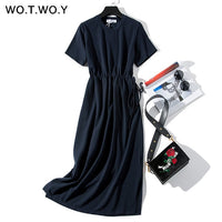 Long T-shirt Sashes Waist Slit Casual O-Neck Short Sleeve Loose Ankle-Length
