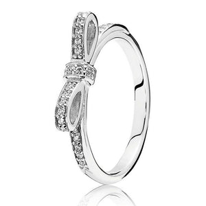 Sparkling Bow Ring for Women Pave Crystals Clear CZ Girl Finger anel fit Lady Jewelry