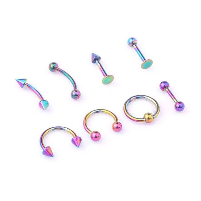 Mix Bar Ball Ring Spiking Surgical Stainless Steel Ear Eyebrow Lip Nose Tongue Piercing