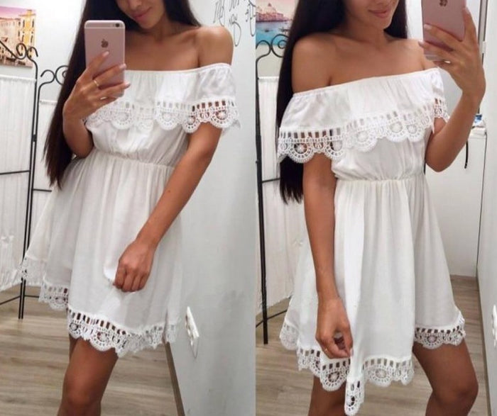 2018 Fashion Women Elegant Vintage sweet lace white Dress Slim Beach Summer