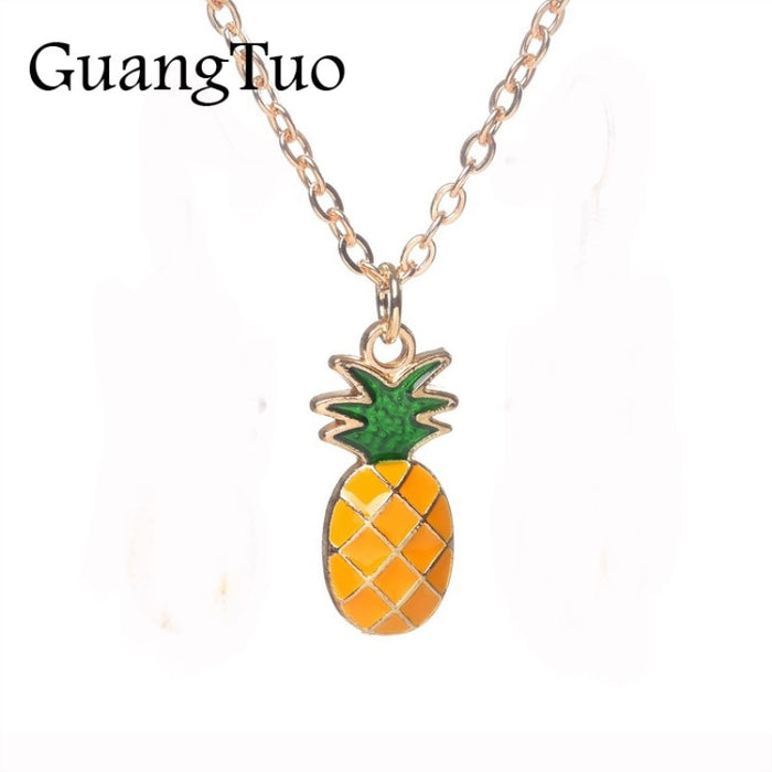 Collares Sweet Korean Version Fruit Pineapple Pendant Necklace For Women