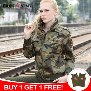 FreeArmy Brand Autumn Jackets Women New Denim Jacket Female Camouflage Fall