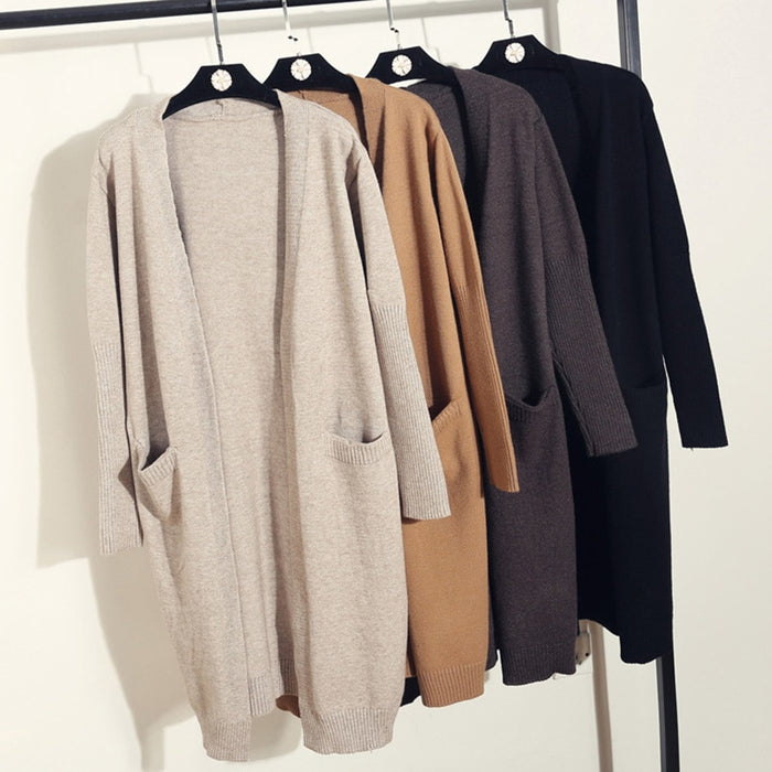 Knitted Long Elegant warm Women 2019 Spring Sweater Autumn Long Sleeve Cardigan Female Winter Casual  Tops fashion Black Khaki