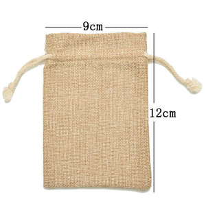 Handmade Drawstring Bag Jewelry Bag Travel Pouch Dry Cotton Linen Small