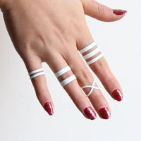 Women White Punk Lucky Rings Knuckle Ring Finger Multilayer