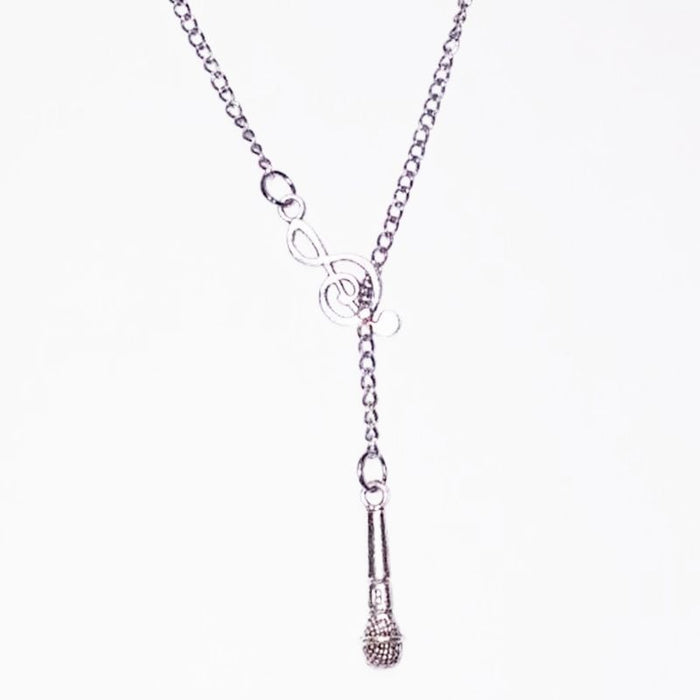 Treble Cleft Music Note Lariat Necklace Singing Microphone Long Chain Statement Necklaces