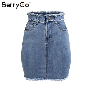 BerryGo Sexy pencil denim skirts women skirt Tassel high waist bodycon mini skirt female streetwear jeans summer skirts 2019