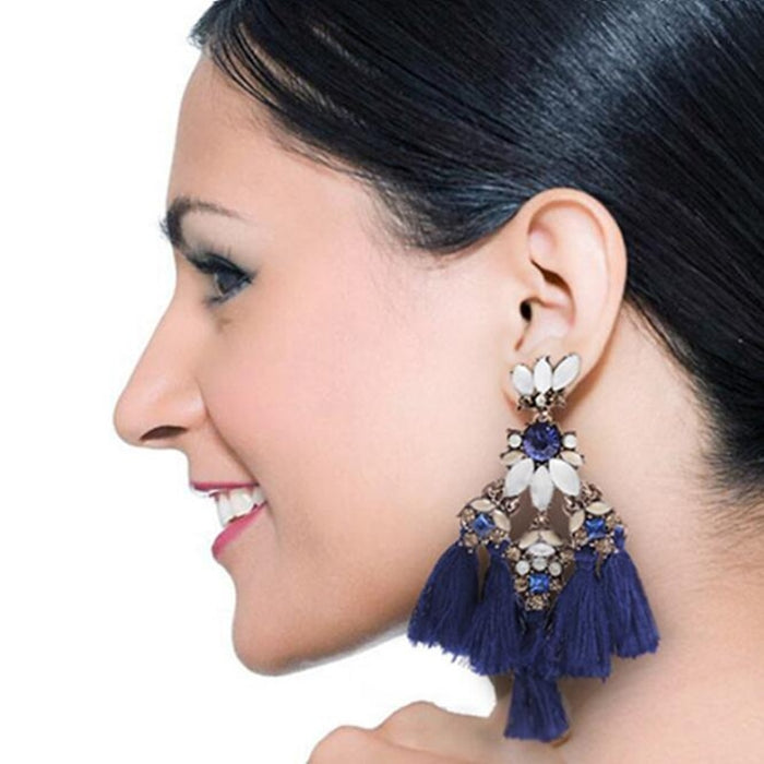 Multi Tassel Drop Earrings for Women Acrylic Beads  Vintage Thread Statement