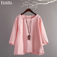 ZANZEA 2019 Plus Size Women's Tunic Tops Vintage Linen Blouse Female Plate Button Shirts Chemise Casual Summer Blusas Kaftan Tee