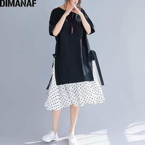 Plus Size Women Dress Summer Sundress Fashion Print Dot Cotton Female Lady