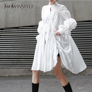TWOTWINSTYLE Korean Style Shirts Dress Women Stand Collar Puff