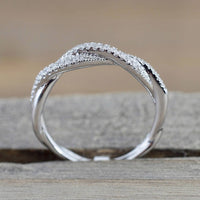 Women Twisted Shape Engagement Ring Stacking Matching Band Anniversary