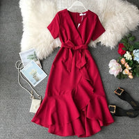 Ruffle V Neck Midi Dress White Bow Tunic Summer Office Korean Sexy Elegant