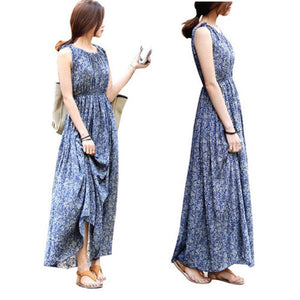 2019 Vintage Floral Print Women Summer Bohemia Sleeveless Dresses Boho Long Maxi Beach Sundress Dress Vestidos
