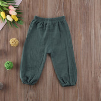 Toddler Adorable Kids Baby Boys Girls Wrinkled Cotton Vintage Bloomers Roupas infantis Bottoms Trousers Legging Long Pants