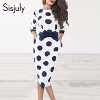 Sisjuly Bodycon Women Polka Dot Vintage Dress Sheath Long Sleeve Bowknot Retro Office White Short Party Dresses Summer 2019