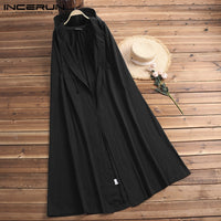 Vintage Medieval Women Capes Hooded Ponchos Waterfall Long Cloak Poncho Coat Cardigan Trench Open Stitch Capas Femininas Female