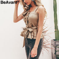 BeAvant One shoulder ruffle women blouse 2019 Summer top peplum sash silk camisoles tank Elegant party feminine blouses blusas